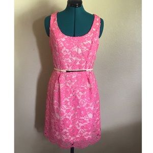 Oasis Ria Jacquard Lace Lantern Dress in hot pink